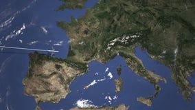 Διαδρομή ενός εμπορικού αεροπλάνου που πετά στη Γένοβα, Ιταλία στο χάρτη Τρισδιάστατη ζωτικότητα εισαγωγής απεικόνιση αποθεμάτων