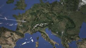 Διαδρομή ενός εμπορικού αεροπλάνου που πετά στο Γκραζ, Αυστρία στο χάρτη Τρισδιάστατη ζωτικότητα εισαγωγής διανυσματική απεικόνιση