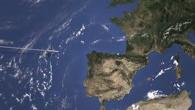 Διαδρομή ενός εμπορικού αεροπλάνου που πετά στο Μπιλμπάο, Ισπανία στο χάρτη Τρισδιάστατη ζωτικότητα εισαγωγής ελεύθερη απεικόνιση δικαιώματος
