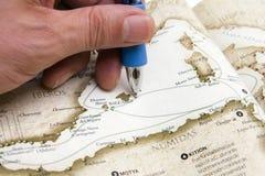 διαδρομή προσώπων χαρτών σχ& στοκ φωτογραφία