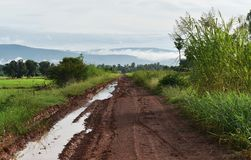 Διαδρομή ροδών πολύ οχήματος στο δρόμο εδαφολογικής λάσπης στην επαρχία στη περίοδο βροχών Στοκ Φωτογραφία