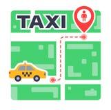 Διαδρομή ταξί στο χάρτη από το σημείο στο σημείο αναμονή το αυτοκίνητο διανυσματική απεικόνιση