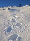 διαδρομή τουριστών χιονι& Στοκ φωτογραφία με δικαίωμα ελεύθερης χρήσης
