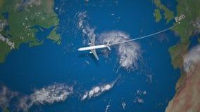 Διαδρομή του εμπορικού αεροπλάνου που πετά από το Παρίσι στη Νέα Υόρκη στη γήινη σφαίρα διανυσματική απεικόνιση