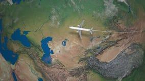 Διαδρομή του εμπορικού αεροπλάνου που πετά από το Πεκίνο στο Βερολίνο τη γήινη σφαίρα φιλμ μικρού μήκους