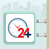 Διαθέσιμη ιατρική βοήθεια εικοσιτεσσάρων ωρών με τα ρολόγια Έννοια πινακίδων Στοκ φωτογραφία με δικαίωμα ελεύθερης χρήσης