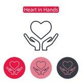 Διαθέσιμο διάνυσμα εικονιδίων χεριών καρδιών Στοκ εικόνες με δικαίωμα ελεύθερης χρήσης