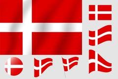 διαθέσιμο διάνυσμα ύφους γυαλιού σημαιών της Δανίας Ρεαλιστική διανυσματική σημαία απεικόνισης Εθνικό symbo Στοκ Εικόνες