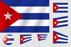 διαθέσιμο διάνυσμα ύφους γυαλιού σημαιών της Κούβας Ρεαλιστική διανυσματική σημαία απεικόνισης Εθνικό σύμβολο δ Στοκ Εικόνες