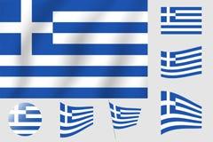 διαθέσιμο διάνυσμα ύφους της Ελλάδας γυαλιού σημαιών Ρεαλιστική διανυσματική σημαία απεικόνισης Εθνικό σύμβολο Στοκ εικόνες με δικαίωμα ελεύθερης χρήσης