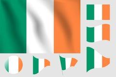 διαθέσιμο διάνυσμα ύφους της Ιρλανδίας γυαλιού σημαιών Ρεαλιστική διανυσματική σημαία απεικόνισης Εθνικό symbo Στοκ φωτογραφία με δικαίωμα ελεύθερης χρήσης