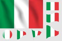 διαθέσιμο διάνυσμα ύφους της Ιταλίας γυαλιού σημαιών Ρεαλιστική διανυσματική σημαία απεικόνισης Εθνικό σύμβολο Στοκ εικόνα με δικαίωμα ελεύθερης χρήσης