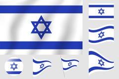 διαθέσιμο διάνυσμα ύφους του Ισραήλ γυαλιού σημαιών Ρεαλιστική διανυσματική σημαία απεικόνισης Εθνικό σύμβολο Στοκ Εικόνες