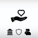 Διαθέσιμο εικονίδιο χεριών καρδιών, διανυσματική απεικόνιση Επίπεδο ύφος σχεδίου Στοκ φωτογραφία με δικαίωμα ελεύθερης χρήσης