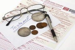 Διαθήκη του φόρου - πληρωτής στοκ φωτογραφίες με δικαίωμα ελεύθερης χρήσης