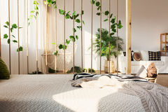 Διαιρέτης δωματίων δίπλα στο κρεβάτι στοκ εικόνα