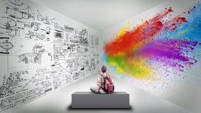 Διαιρεμένο δωμάτιο Δημιουργικό μισό και λογικό μισό στοκ φωτογραφία με δικαίωμα ελεύθερης χρήσης