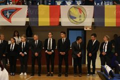 Διαιτητές στο ρουμανικό πρωτάθλημα, νεώτεροι, το Μάιο του 2018 στοκ φωτογραφία