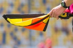 Διαιτητής ποδοσφαίρου με τη σημαία Στοκ εικόνες με δικαίωμα ελεύθερης χρήσης