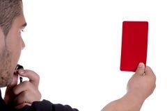 Διαιτητής που παρουσιάζει κόκκινη κάρτα Στοκ εικόνα με δικαίωμα ελεύθερης χρήσης