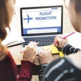 Διακινούμενη έννοια αεροπλάνων προσφοράς προώθησης πτήσης Στοκ Φωτογραφίες