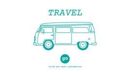 Διακινούμενη περιπέτεια Journey Destination Van Concept ταξιδιού Στοκ Εικόνες