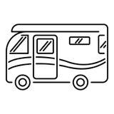 Διακινούμενο camper van icon, ύφος περιλήψεων Στοκ Φωτογραφίες