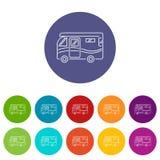 Διακινούμενο camper van icons καθορισμένο διανυσματικό χρώμα Στοκ φωτογραφία με δικαίωμα ελεύθερης χρήσης