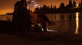 Διακοπές αλιείας νύχτας Στοκ Εικόνες
