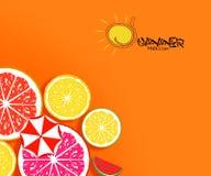 Διακοπές διακοπών θερινού χρόνου, απεικόνιση στο ζωηρόχρωμο πορτοκαλί υπόβαθρο με τα φρούτα Στοκ Εικόνες