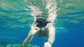 Διακοπές εν πλω Ένα καλυμμένο άτομο με έναν σωλήνα επιπλέει κοντά στην επιφάνεια του νερού, που κυματίζει το χέρι του στη κάμερα φιλμ μικρού μήκους