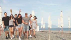 διακοπές, διακοπές η ομάδα φίλων που έχουν τη διασκέδαση στην παραλία, που περπατά, πίνει την μπύρα, το χαμόγελο και το αγκάλιασμ απόθεμα βίντεο