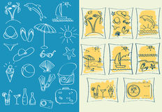Διακοπές και trevel εικονίδια. Διανυσματικό illustrati συμβόλων Στοκ Εικόνες
