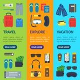 Διακοπές κινούμενων σχεδίων και σύνολο Vecrtical εμβλημάτων ταξιδιού διάνυσμα απεικόνιση αποθεμάτων