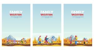 Διακοπές οικογενειακού φθινοπώρου Ανακύκλωση, πεζοπορία και υπαίθρια αθλητική δραστηριότητα Διανυσματικές απεικονίσεις ύφους κινο ελεύθερη απεικόνιση δικαιώματος