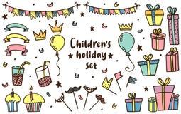 Διακοπές παιδιών που τίθενται στο διάνυσμα ελεύθερη απεικόνιση δικαιώματος
