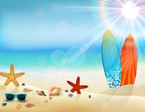 Διακοπές στην παραλία στο καλοκαίρι με την ιστιοσανίδα διανυσματική απεικόνιση