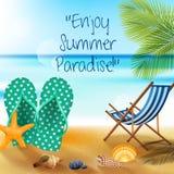 Διακοπές στο καλοκαίρι παραλιών με τις σαγιονάρες, τον αστερία και τα κοχύλια απεικόνιση αποθεμάτων