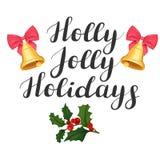 Διακοπές της Holly ευχάριστα Απεικόνιση με τα κουδούνια και τον ελαιόπρινο διανυσματική απεικόνιση