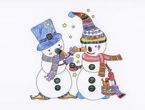 Διακοπές χιονανθρώπων βιβλίων χρωματισμού Χριστουγέννων Στοκ Εικόνα