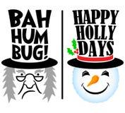 Διακοπές Scrooge και χιονάνθρωπος/eps Στοκ Φωτογραφία