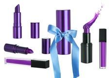 Διακοπών δώρο που τίθεται καλλυντικό με το κραγιόν Makeup στοκ φωτογραφία με δικαίωμα ελεύθερης χρήσης