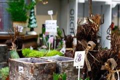 Διακοσμήσεις κήπων στην επίδειξη στην αγορά δήμων Στοκ φωτογραφία με δικαίωμα ελεύθερης χρήσης