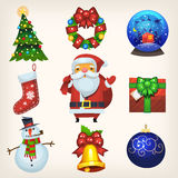 Διακοσμήσεις και εικονίδια Χριστουγέννων Στοκ Φωτογραφία