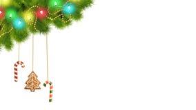 Διακοσμήσεις και φω'τα Χριστουγέννων με την άλφα και αναπαραχθείσα γραπτή μεταλλίνη απεικόνιση αποθεμάτων