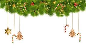 Διακοσμήσεις και φω'τα Χριστουγέννων στο διαφανές υπόβαθρο διανυσματική απεικόνιση