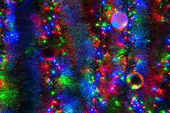 Διακοσμήσεις και φω'τα Χριστουγέννων Στοκ Φωτογραφίες