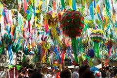 Διακοσμήσεις φεστιβάλ Gracia στη Βαρκελώνη, Ισπανία Στοκ φωτογραφία με δικαίωμα ελεύθερης χρήσης