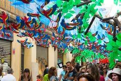 Διακοσμήσεις φεστιβάλ Gracia στη Βαρκελώνη Στοκ Εικόνες
