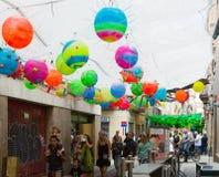 Διακοσμήσεις φεστιβάλ Gracia στη Βαρκελώνη Στοκ Φωτογραφίες